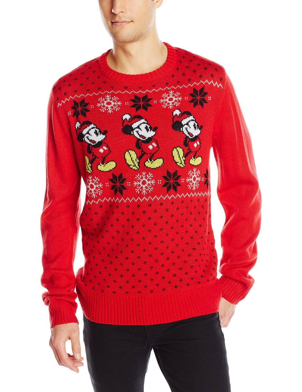 Disney Mens Mickey Pattern Sweater At Amazon Mens Clothing Store