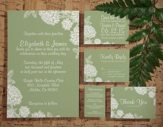 Modern Sage Green Wedding Invitation Set Suite Invites Save The Date Rsvp