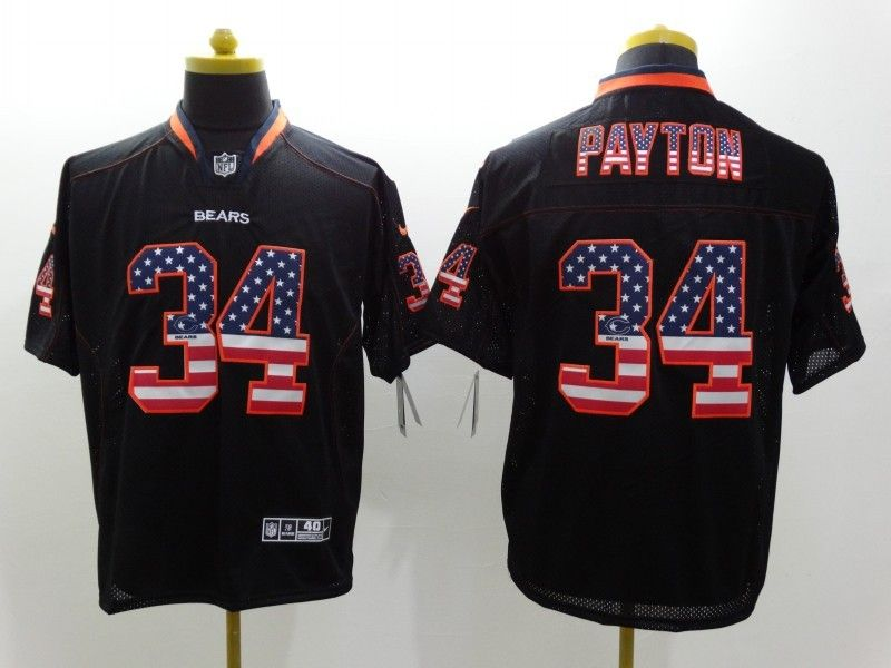 f3eac649a ... MenS Nike Nfl Chicago Bears 34 Walter Payton USA Flag Fashion Black Elite  Jersey 22 ...