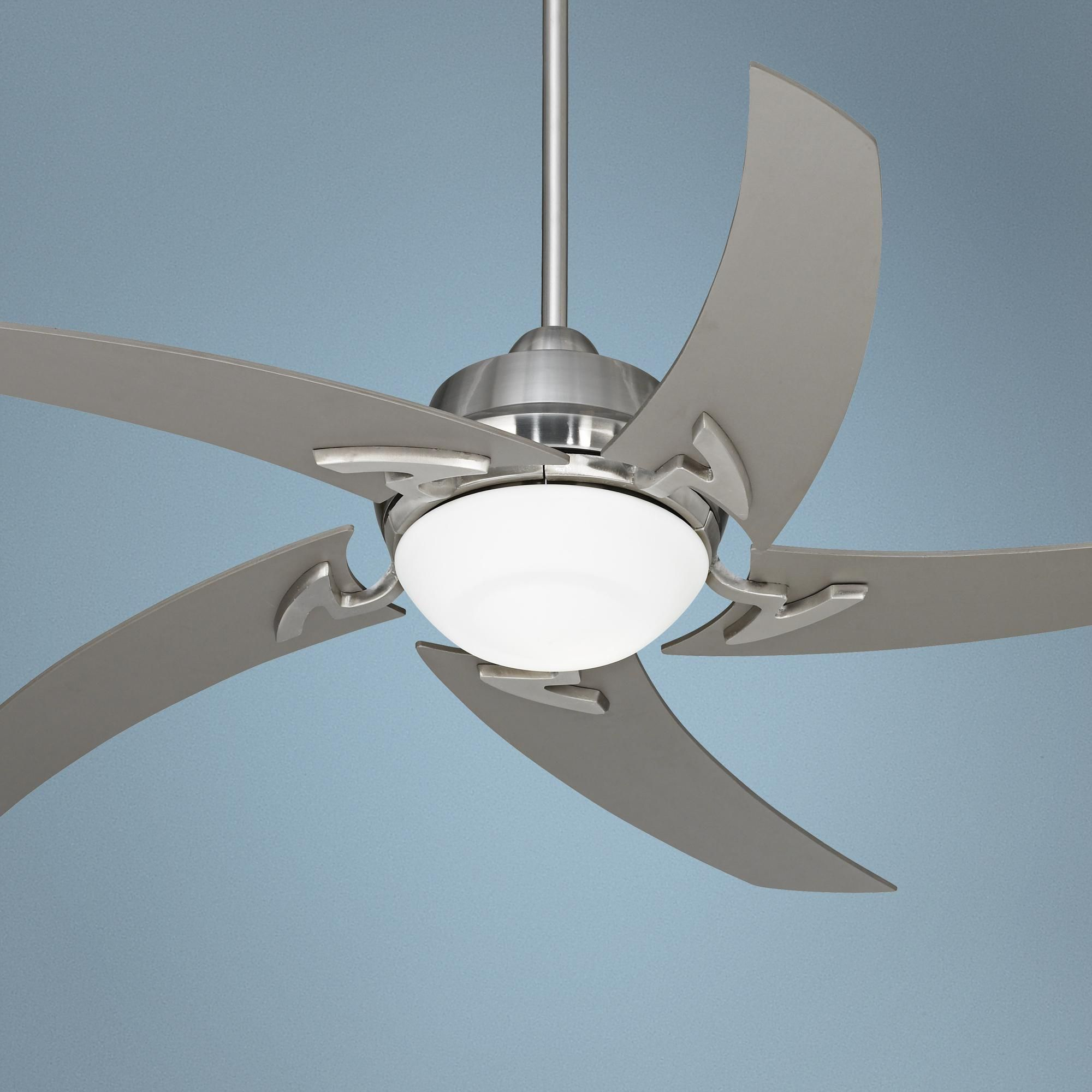 Contemporary Ceiling Fans Brushed Nickel 52 Quot Casa Vieja Capri Brushed Nickel Ceiling Fan With Light