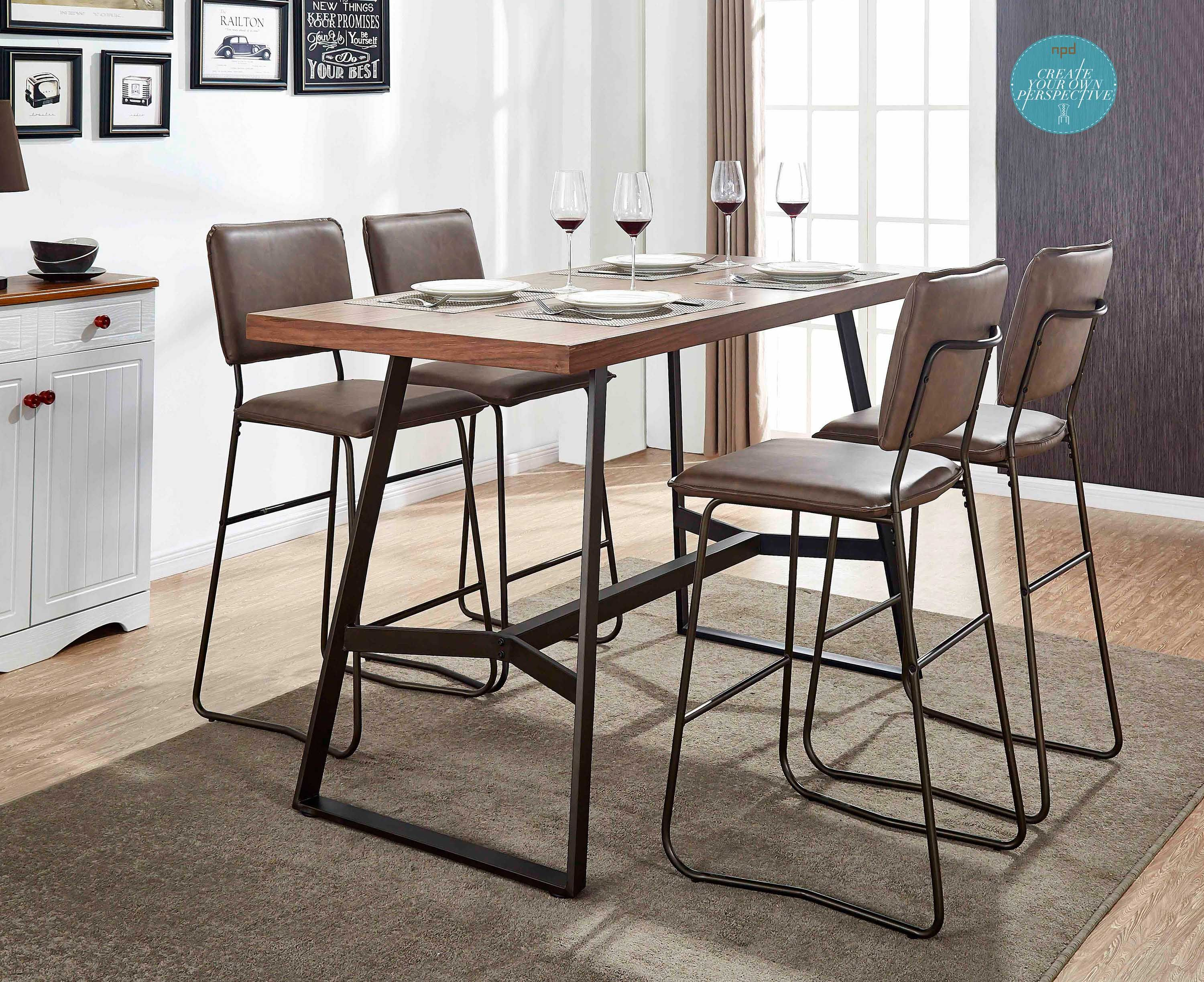 Simple but sharp and stylish nash bar stools paired with jersey walnut veneer high table completing your modern dining section incorporating an industrial