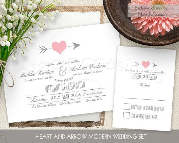 Digital Wedding Invitation Ideas: Rustic Wedding Invitations Set Blush Pink Heart Wedding
