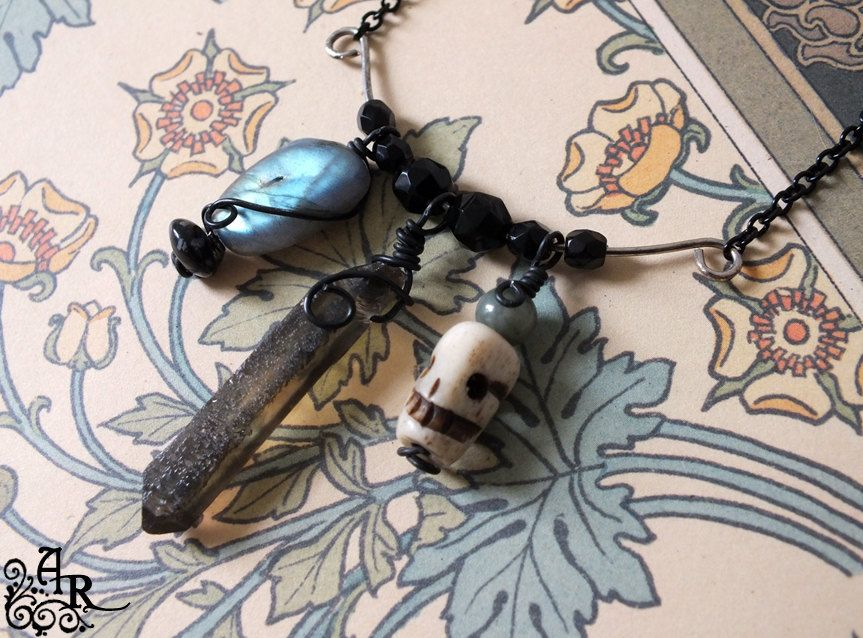 Mourning Crescent... Necklace w/ Labradorite, Vintage Mourning Beads, Skull and More. $31.00, via Etsy.