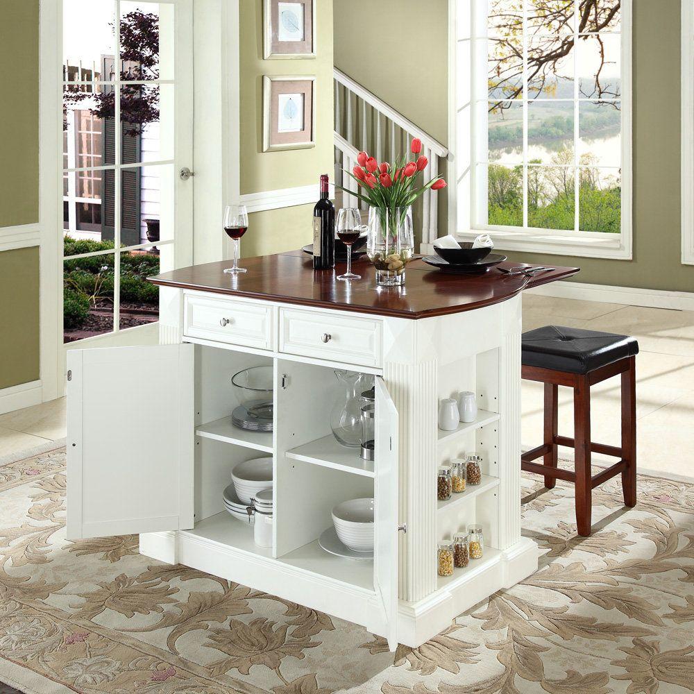 Small white kitchen island with storage plus stools - Small kitchen island with storage ...
