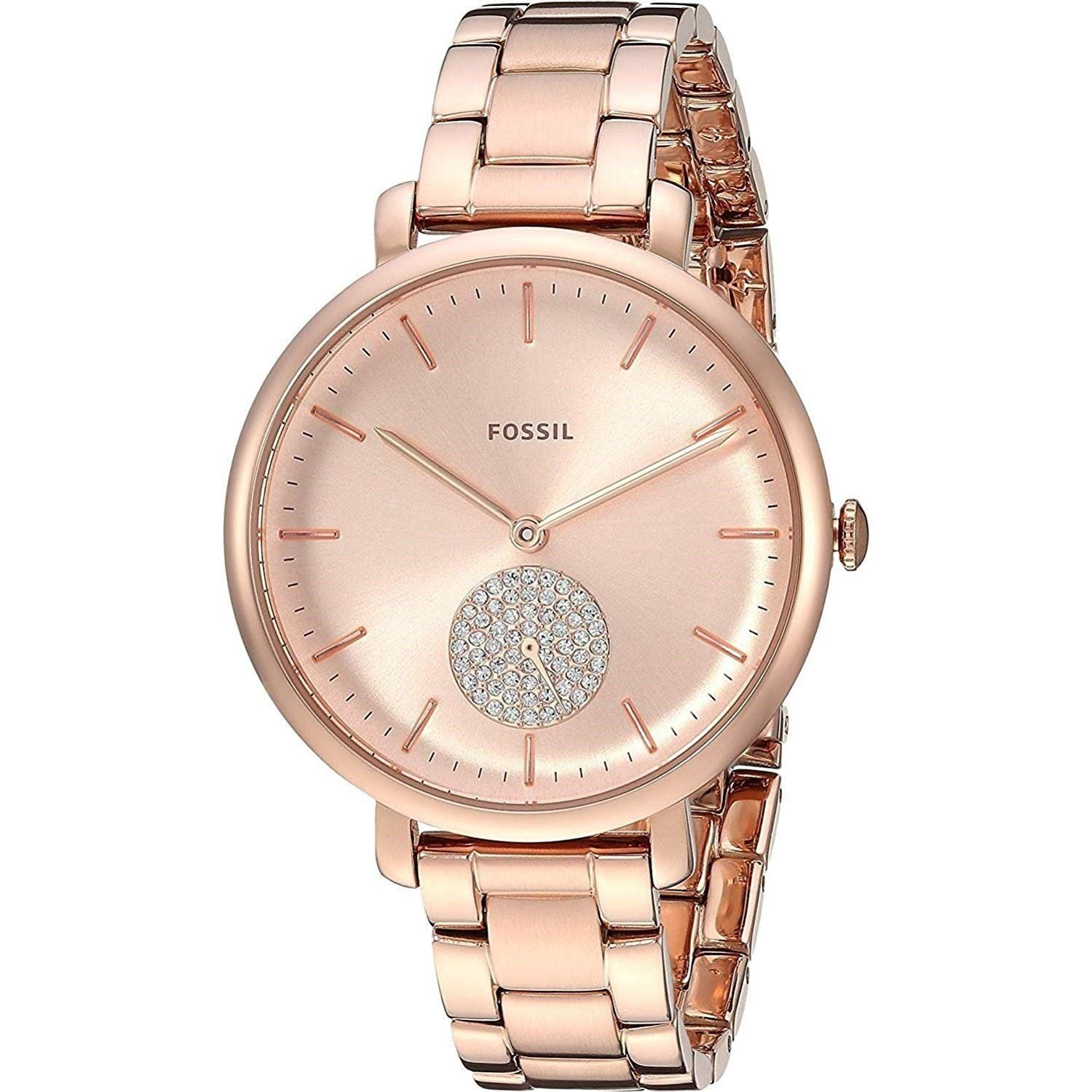 d4dce0e6fd23 Fossil Women s ES4438 Jacqueline Crystal Rose-Tone Stainless Steel Watch