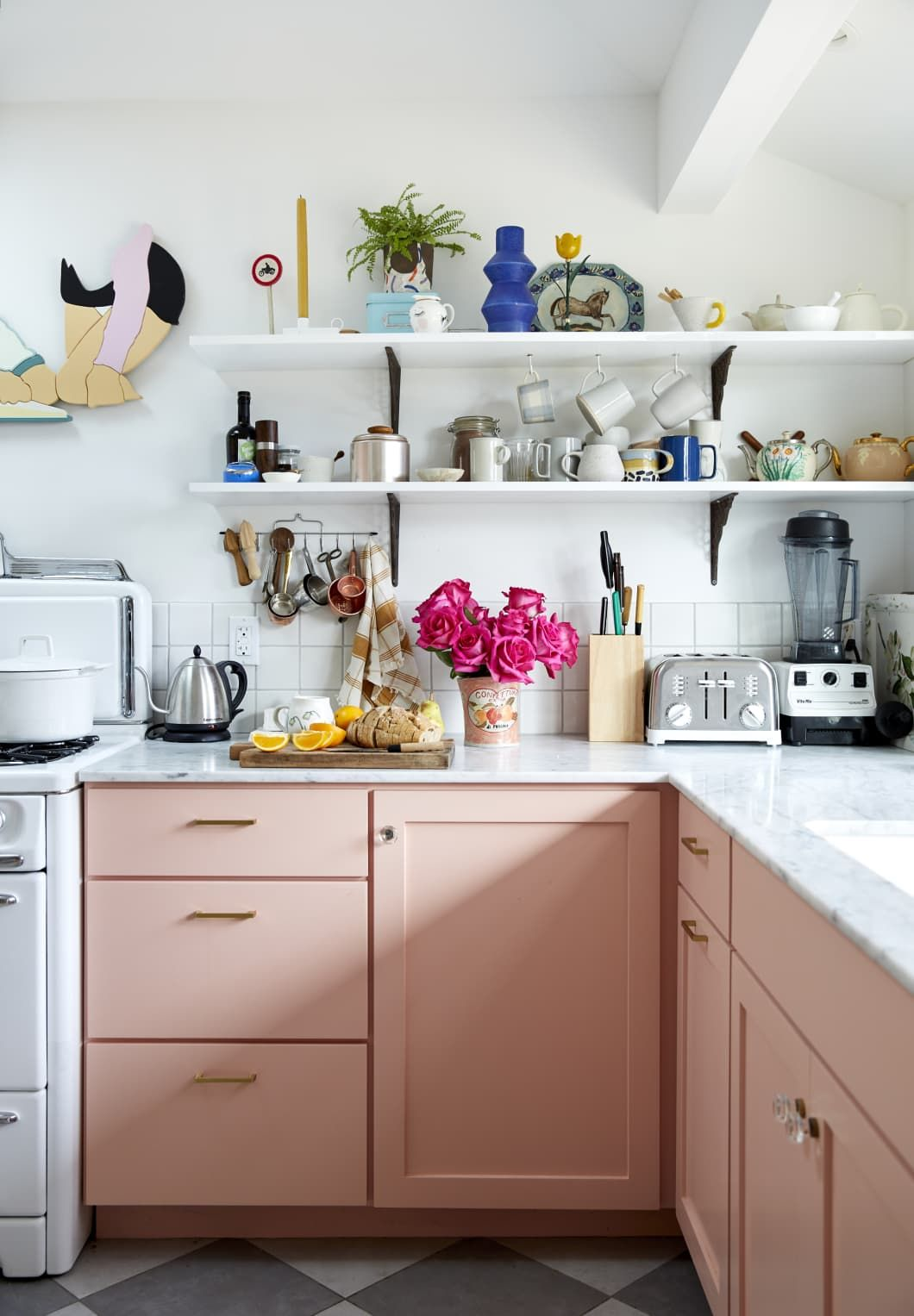 This Kitchen Was Inspired by More than 150 Other Kitchens - Pink kitchen cabinets, Interior design kitchen, Pink kitchen, Kitchen renovation, Kitchen colors, Pastel kitchen - When you're a professional photographer and you shoot kitchens for a living, you learn what it is you want in a remodeled space  For Leela Cyd, that was a pink kitchen