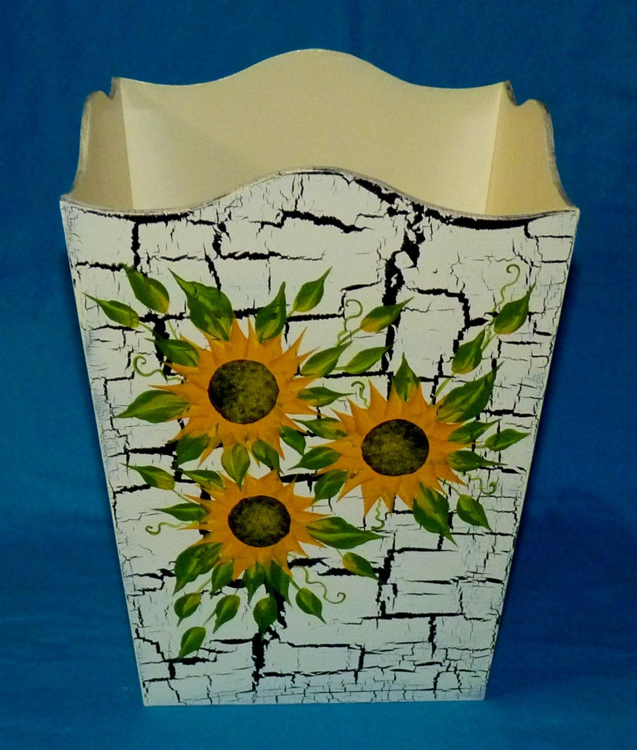 Shabby Chic Waste Baskets Wood Garbage Can Custom Hand Painted Trash Can Sunflowers Waste