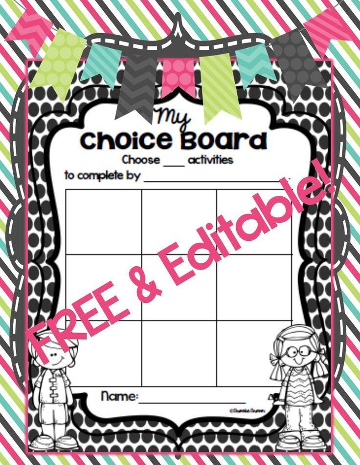 FREE & EDITABLE Choice Boards {4 Formats!} Choice boards