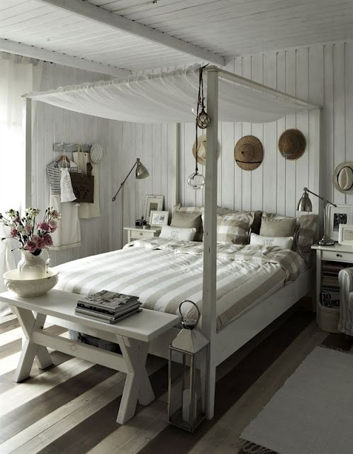 Great use of stripes to add interest. Love the painted floorboards.