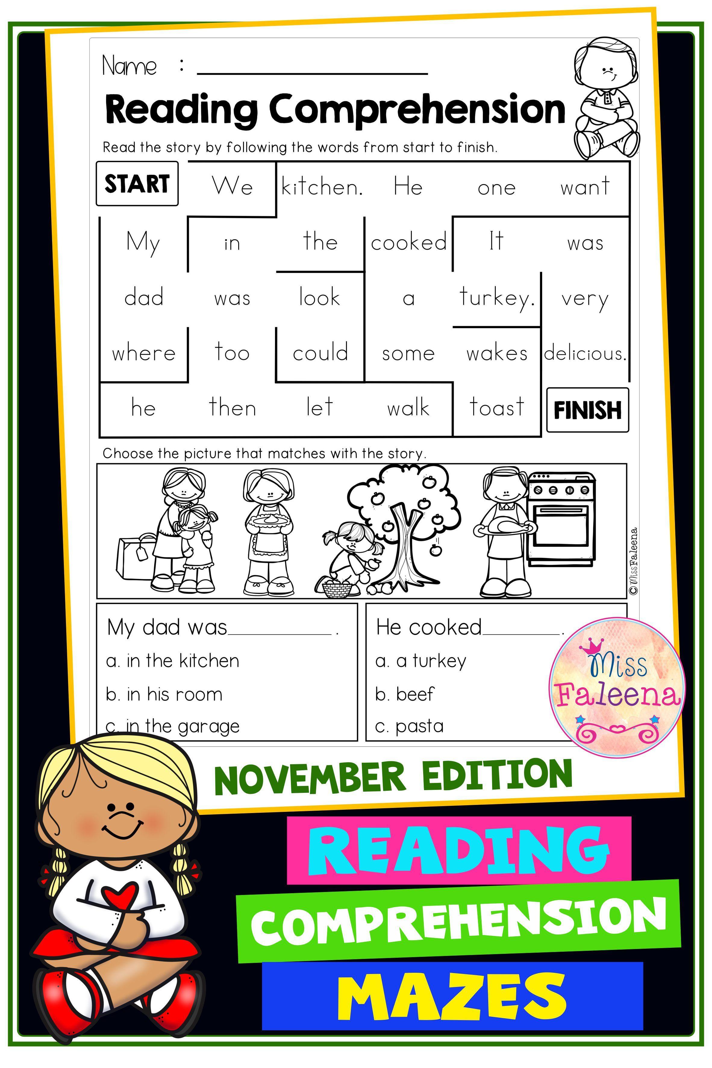 November Reading Comprehension Mazes Reading Comprehension Common Core Kindergarten Reading First Grade Reading Comprehension First grade reading programs online
