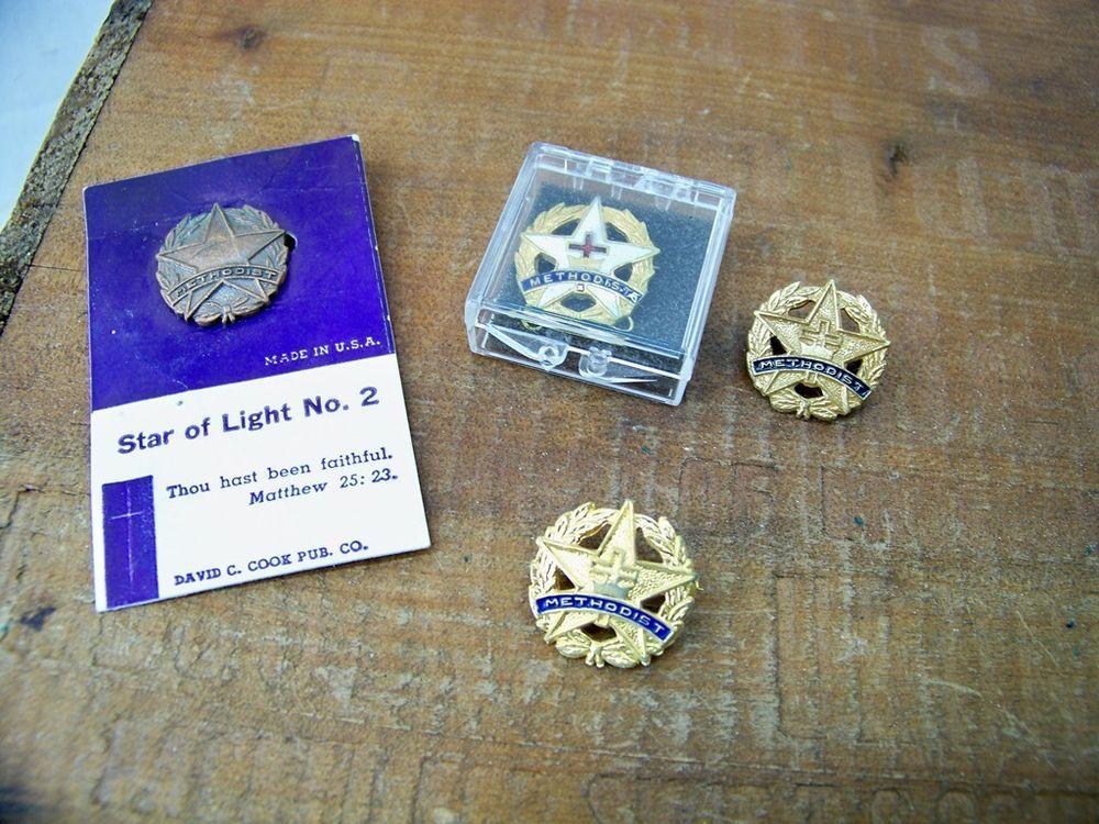 Methodist church pins vintage 1960s bible school group of