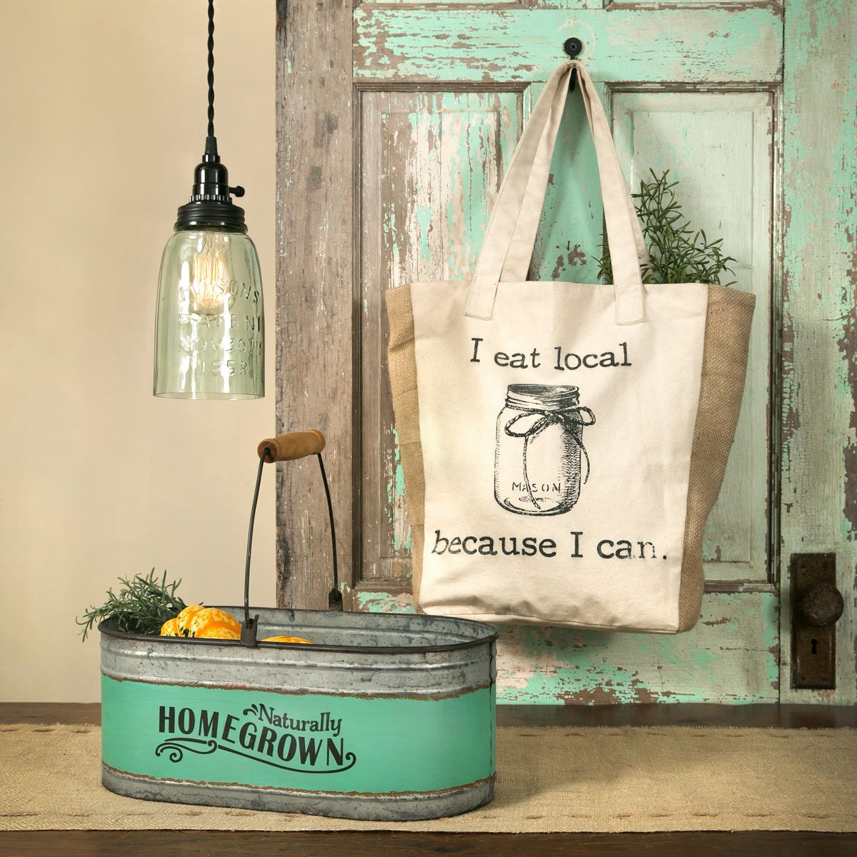 Use a vintagelooking bucket to bring color to your