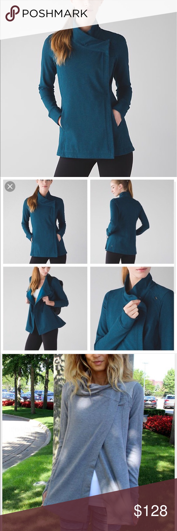 Lululemon Coat Wrap ll NWT soft & warm stretch French terry fabric. Button closure. Interior pocket for phone or iPod. Thumb holes to secure sleeves in place. Loose fit. Hits at hip lululemon athletica Jackets & Coats