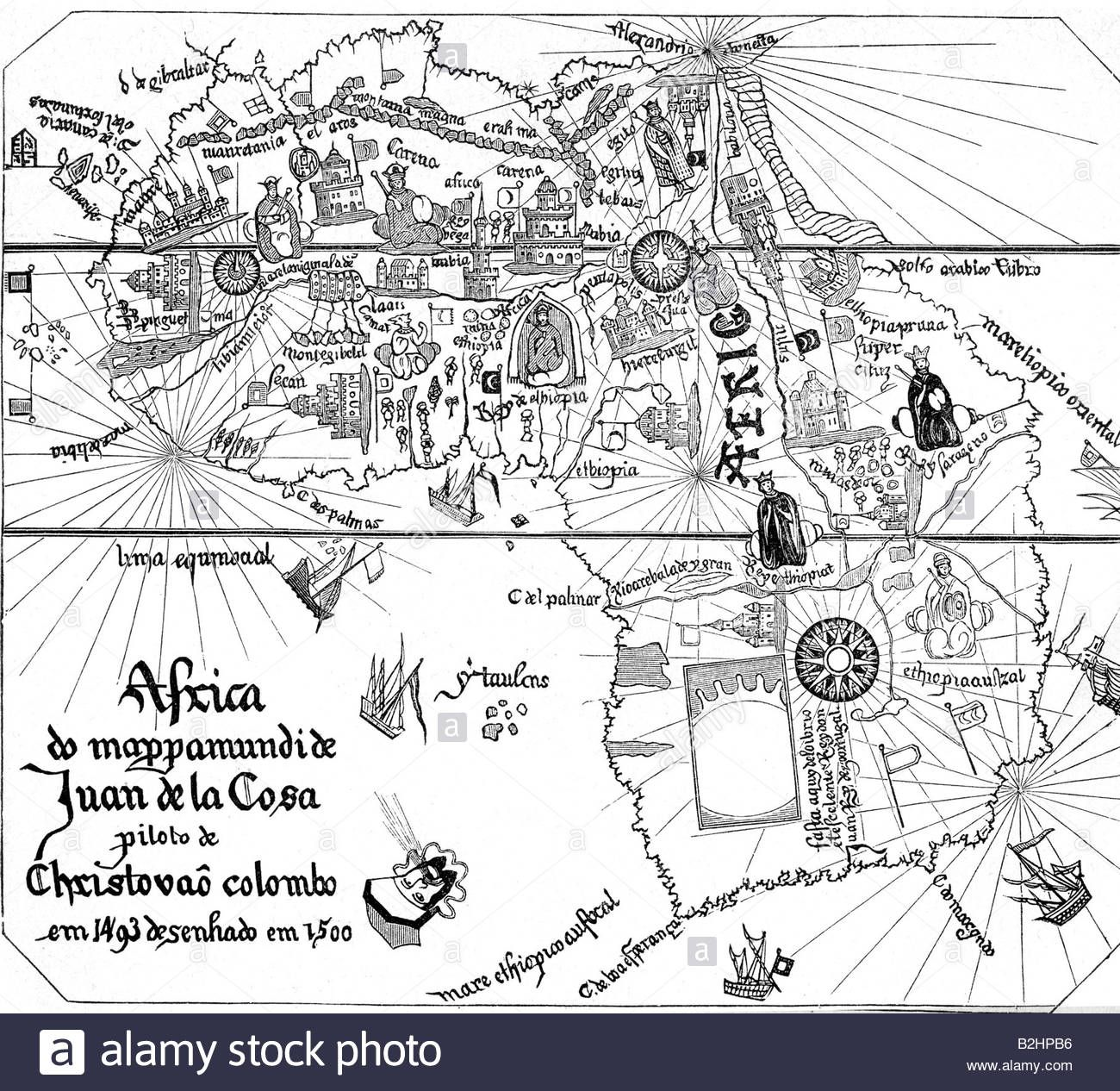 cartography, maps, Africa, detail from the world map of Juan de la