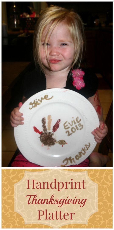 This Handprint Thanksgiving Platter is such an easy fun craft! Help preserve memories of your little ones' little hands!