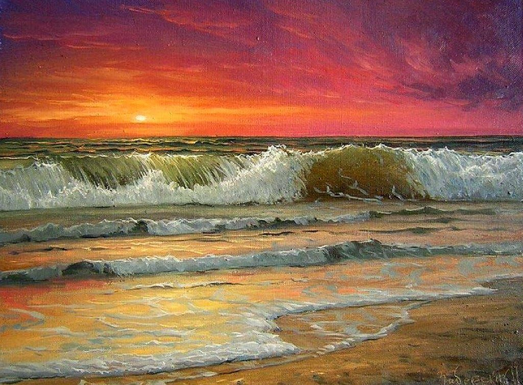 Paisaje al oleo atardecer para pintar pinterest sea - Cuadros para pintar ...
