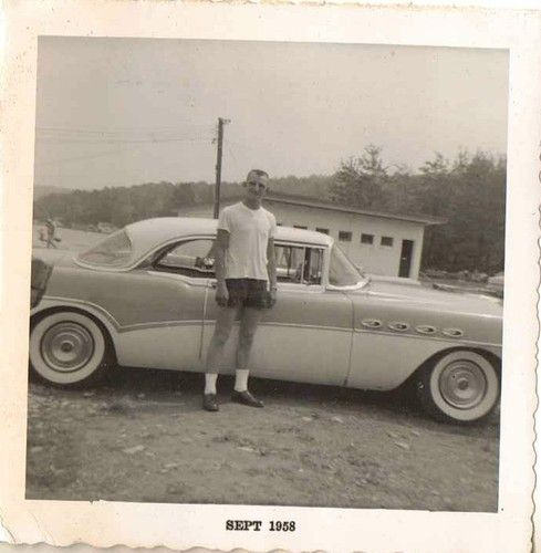 Antique Photograph man standing by antique car  Selling on ebay