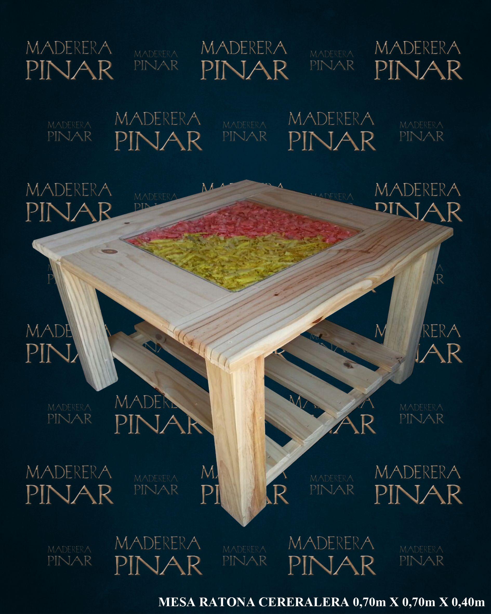 Mesa ratona cerealera de pino 0 70m x 0 70m x 0 50m con - Mesa de pino ...