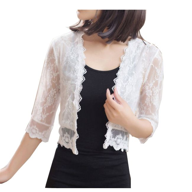 summer fashion female lace jacket casual short cardigan hollow out ...