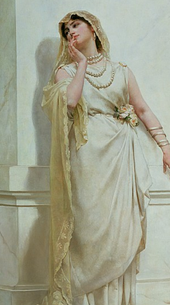 Roman wedding dress- Roman bridal attire, introduced the basis for weddings as we know today. The wedding veil was one of the biggest garments to come out of this time period. A tunic belted at the waist, a palla, matching shoes, and a metal collar, made up the rest of the brides outfit. The veil or flammeum was always orange, and was on top placed a wreath of orange blossoms.