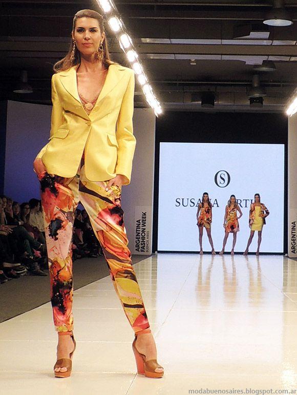 Susana Ortiz primavera verano 2015. Moda trajes de mujer en plenos y  estampados primavera verano 2015. ae72035924eb