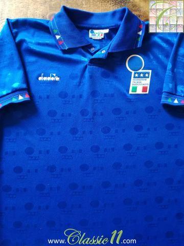 Official Diadora Italy home football shirt from the 1993 1994 international  season. 5a4e3fdea