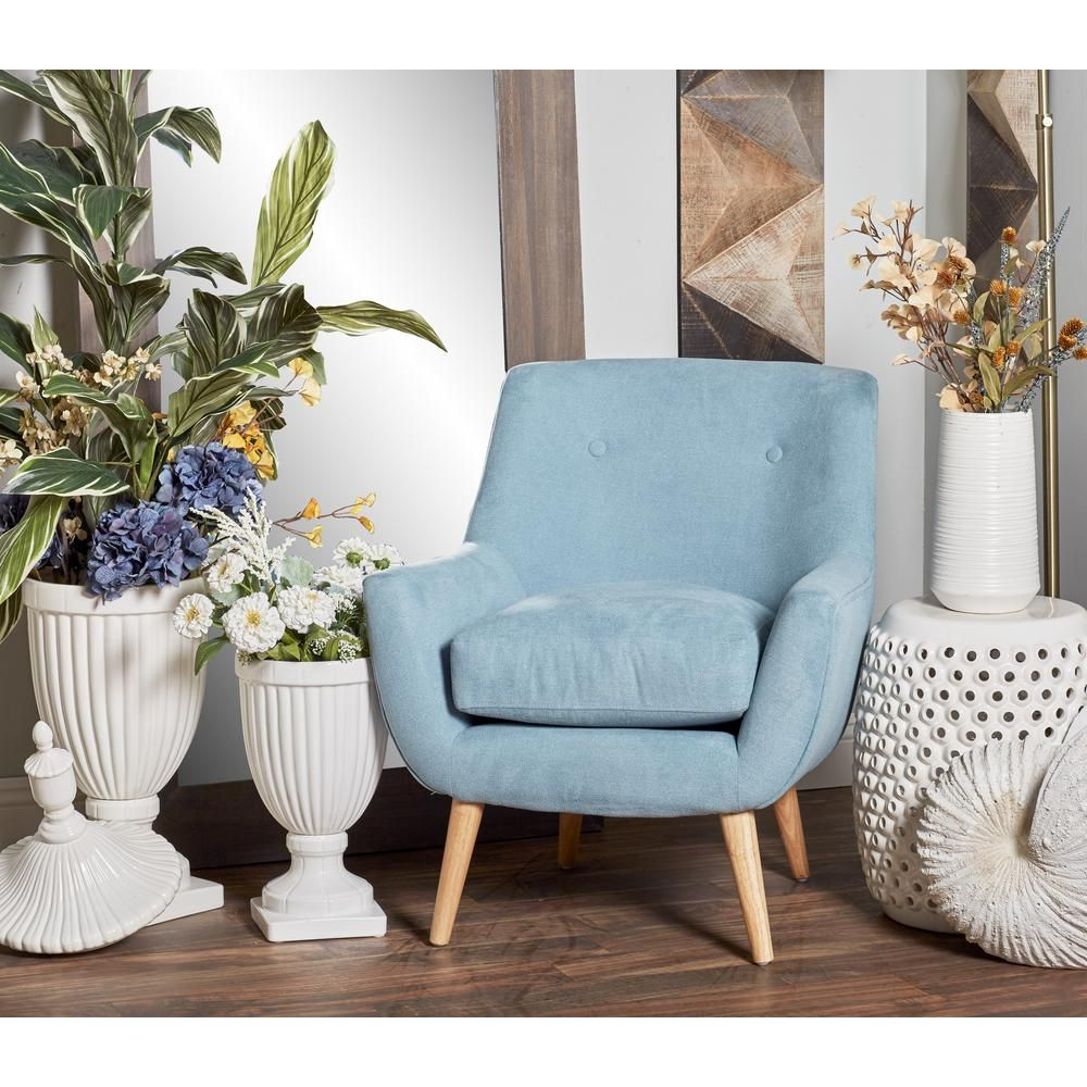 Astonishing Litton Lane Light Blue Fabric And Wood Cushioned Arm Chair Bralicious Painted Fabric Chair Ideas Braliciousco