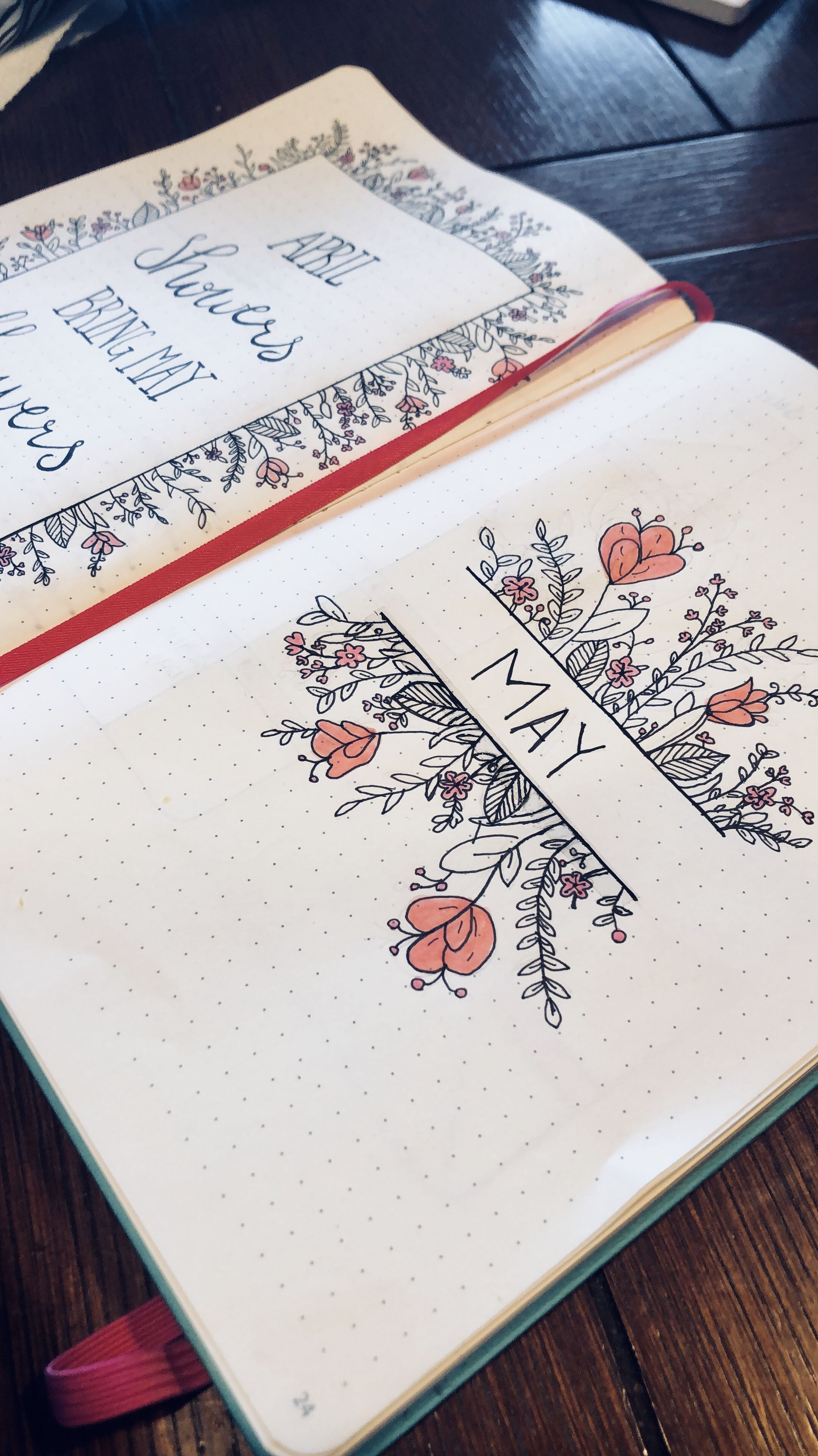 May flowers bullet journal monthly cover page. Side view. #bulletjournal #maycoverpage #novemberbulletjournalcover