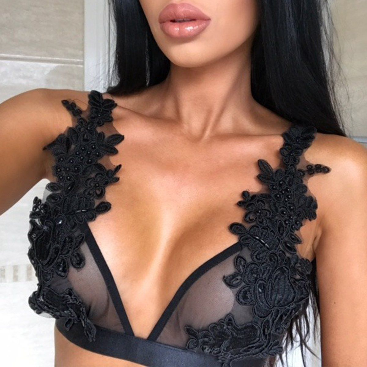 8cd3955dedf  3.59 - Women Floral Lace Bralette Bustier Crop Top Sheer Mesh Triangle  Unpadded Bra  ebay  Fashion