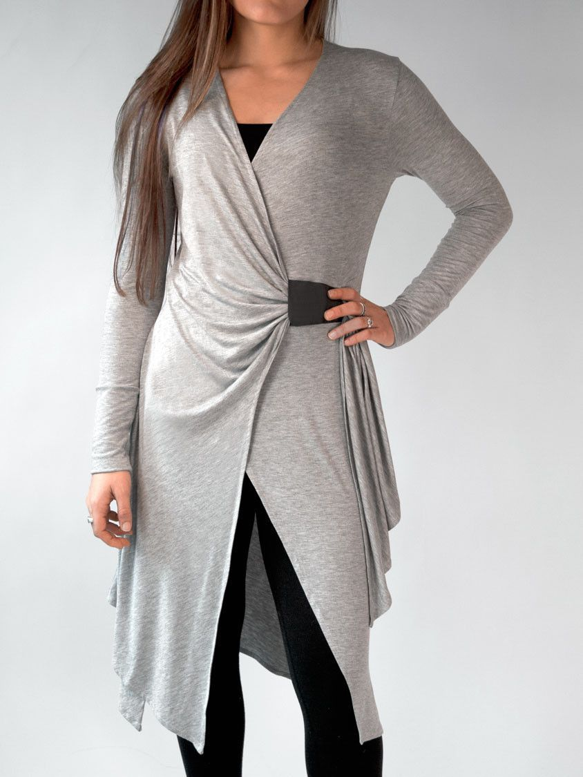 67e03dcc9f Perfect cover-up over fitness, dance, yoga and pilates wear. Great over  leggings or jeans. By Erin Draper. Draped light gray cardigan.