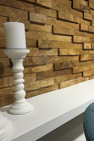 hout strips, teak, impermo, kandelaar, woonkamer, muurbekleding ...
