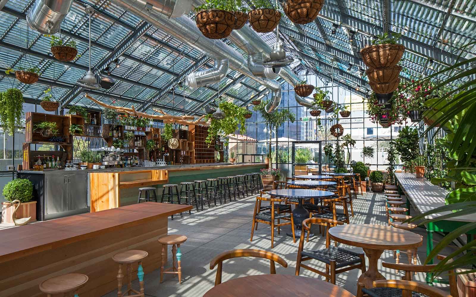 The Line Hotel Koreatown Los Angeles Commissary Greenhouse Restaurant Los Angeles Hotels Hotel