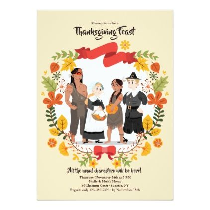 Thanksgiving Characters Invitation  Thanksgiving Invitations