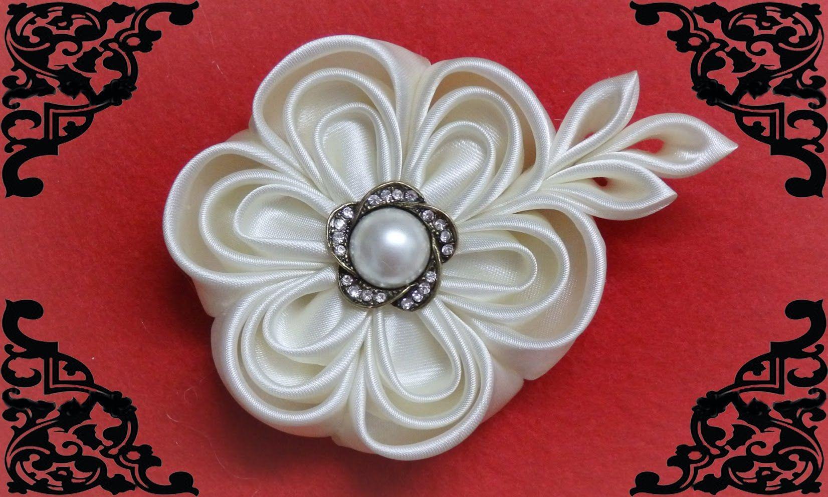 Diy kanzashi flower wedding kanzashi flower accessoire - Como hacer adornos para el pelo ...