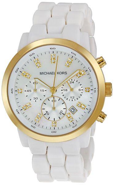 Michael Kors White Acrylic Chronograph MOP Ladies Watch MK5218