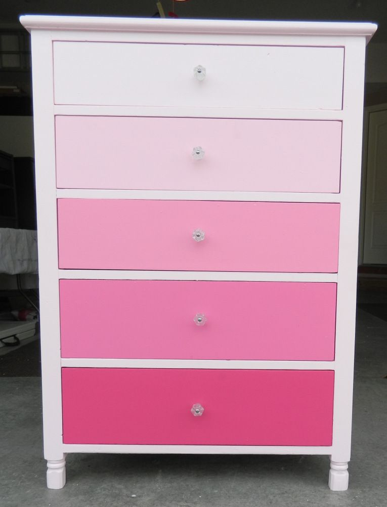 Another Dresser Transformation From Blue To Pink Ombre Girls