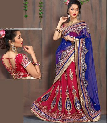 Lehenga Choli Embroidered Exclusive Blue And Red Wedding Wear