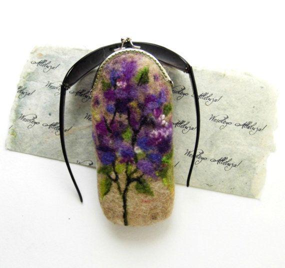 Wet Felted Eyeglasses Case FLOWER Lilac Bushes with di nekoBlueSKY