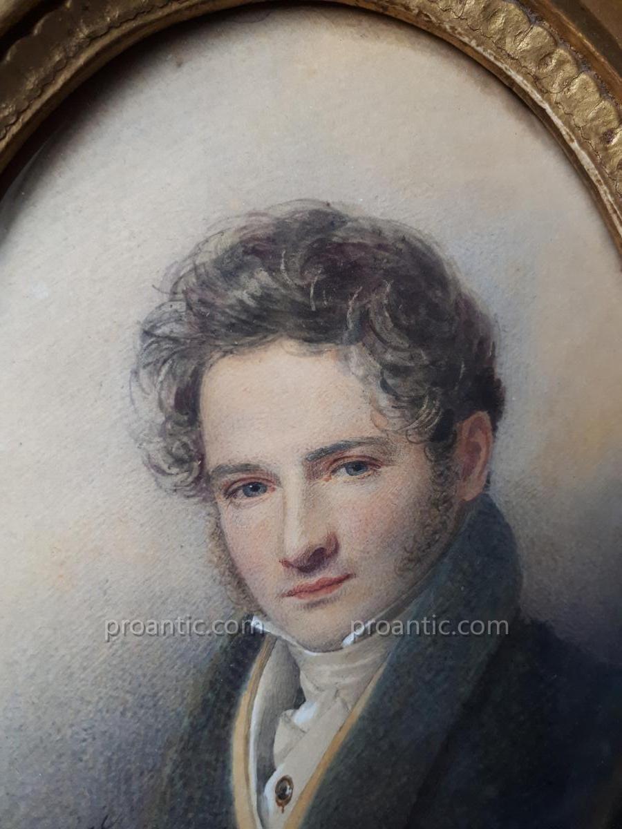 Portrait Homme Dandy Aquarelle Signee Dubourjal 1826 A L Atelier