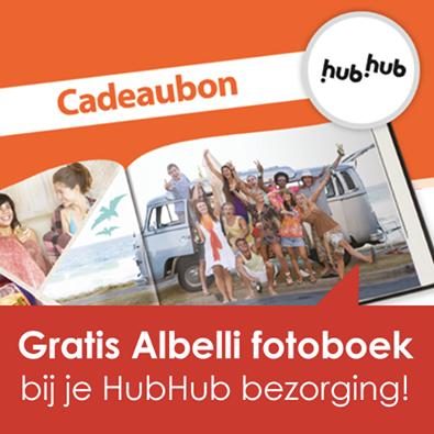 Verwacht je binnenkort een HubHub bezorging? Dan ontvang jij bij je bezorging een cadeaubon voor een gratis Albelli fotoboek! Leuk!
