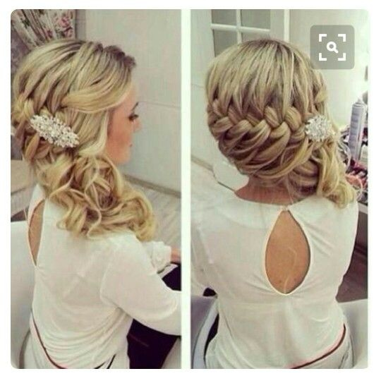 French Braid Wedding Hairstyles: Love The French Braid With Curly Side Ponytail And Clip Or
