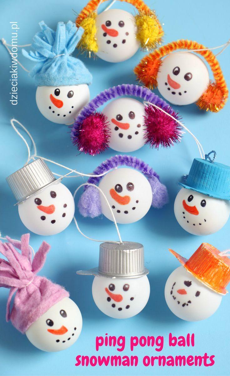 Bałwanki z piłeczek - ozdoby na choinkę DIY - Dzieciaki w domu