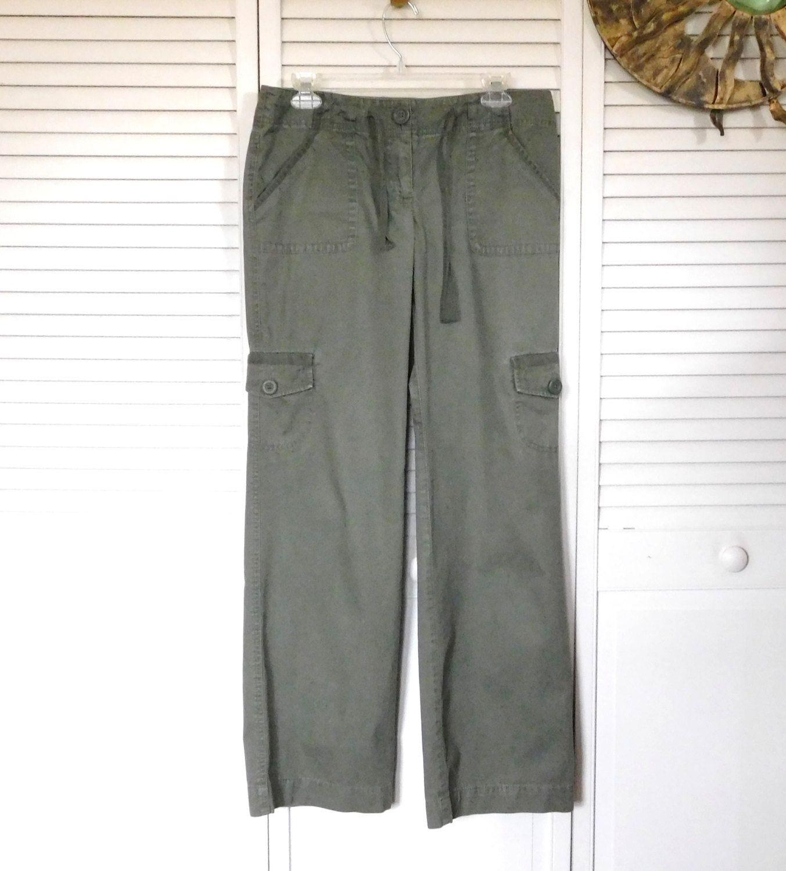 Green Khaki Cargo Pants Hip Hugger Leg Pockets Army Green Cargos Size 4 Drawstring Closure Vintage Hippie Boho Clothes The Land Of Bridget Upcycled Boho Hippie Bohemian Tribal Festival 70s Clothes