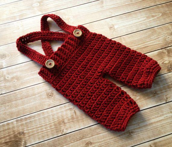 Ganchillo bebé pantalones cortos/pantalones con tirantes - pañal ...