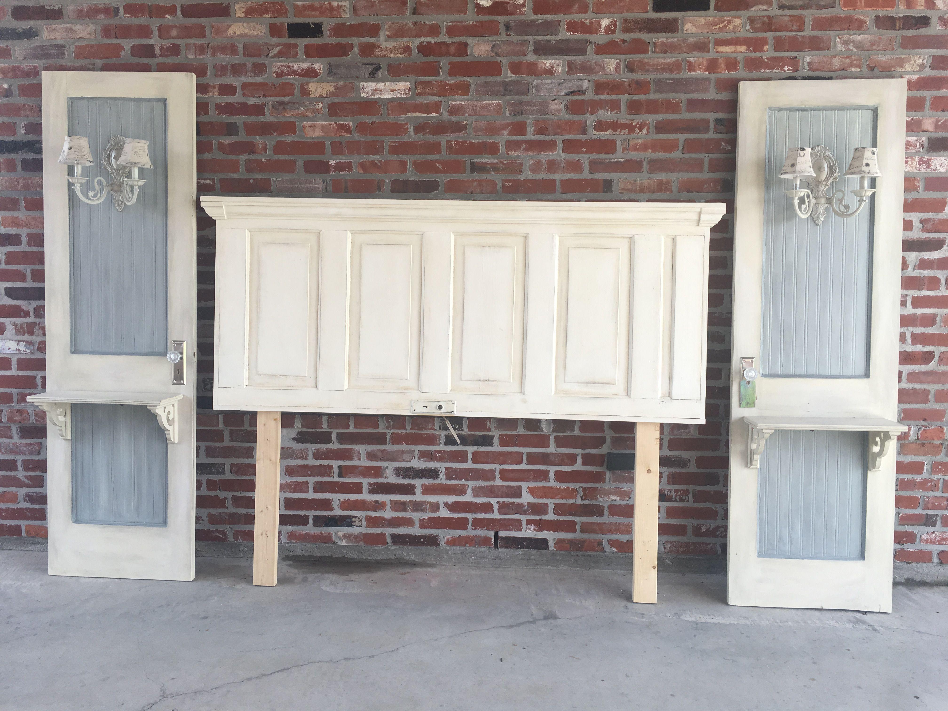 Photo of Old door headboard and nightstands