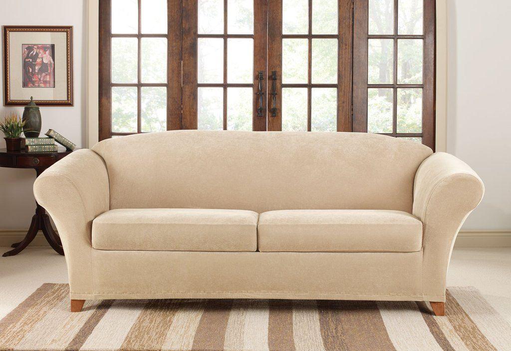 Stretch Pique Three Piece Sofa Slipcover Form Fitting