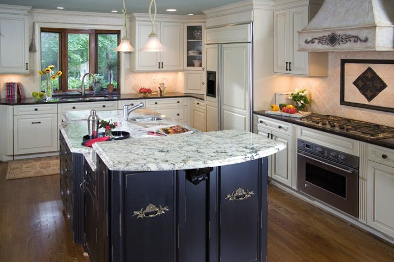 Beautiful Traditional Kitchen With Distressed Wooden Island. Custom Home  Remodeling By Ferrarini Kitchen And Bath