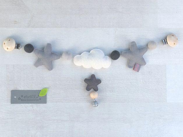kinderwagenkette filz grau filzkugel kinderwagen und wolke. Black Bedroom Furniture Sets. Home Design Ideas
