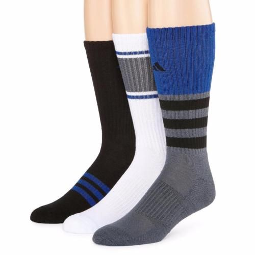 47bc4d041 Adidas-Men-039-s-3-PK-Crew-Cushioned-Climalite-Compression-Socks -Blue-Gray-Black-Wht