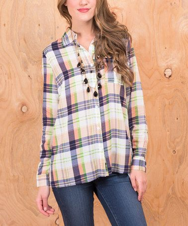 Another great find on #zulily! Green & Ivory Plaid Button-Up #zulilyfinds